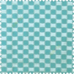 Blue beige color abstract and geometric concave square designs with vertical digital stripes polyester main curtain