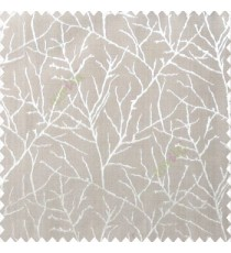 Grey brown color traditional tree pattern complete twigs design branches leafless plants polyester main curtain