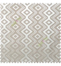 Grey brown color traditional abstract ogee design vertical diamond and zigzag-shaped lines polyester main curtain