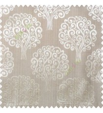 Brown beige color beautiful traditional tree design swirls made tree multi layers polyester main curtain