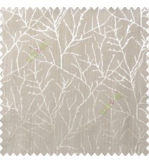 Brown beige color traditional tree pattern complete twigs design branches leafless plants polyester main curtain
