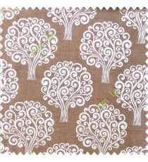 Copper brown beige color beautiful traditional tree design swirls made tree multi layers polyester main curtain