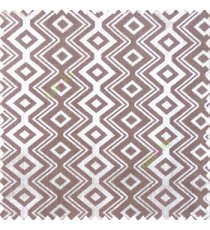 Copper brown beige color traditional abstract ogee design vertical diamond and zigzag shaped lines polyester main curtain