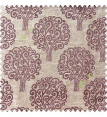 Dak chocolate brown beige color beautiful traditional tree design swirls made tree multi layers polyester main curtain