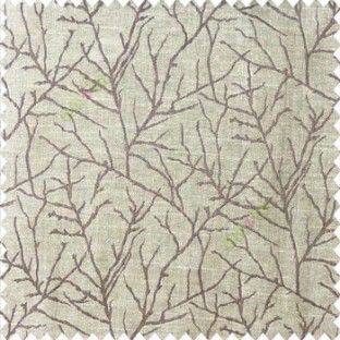 Dark chocolate brown beige color traditional tree pattern complete twigs design branches leafless plants polyester main curtain
