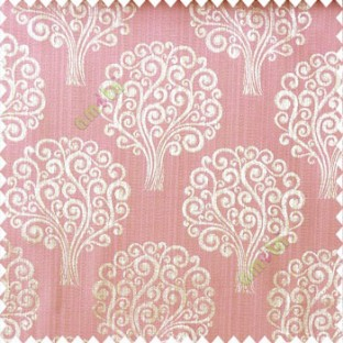 Pink grey green color beautiful traditional tree design swirls made tree multi layers polyester main curtain