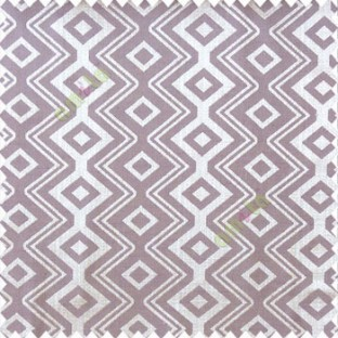 Purple brown grey color traditional abstract ogee design vertical diamond and zigzag shaped lines polyester main curtain