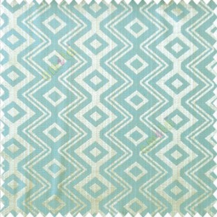 Brown blue grey color traditional abstract ogee design vertical diamond and zigzag shaped lines polyester main curtain