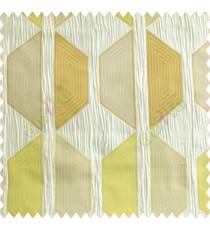 Contemporary diamond hexagon lime green gold brown silver crush technical polyester main curtain designs