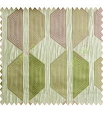Contemporary diamond hexagon pink green peach silver crush technical polyester main curtain designs