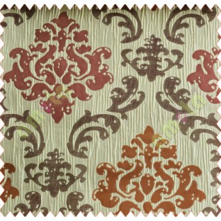 Big damask contemporary purple orange brown beige copper crush technical polyester main curtain designs