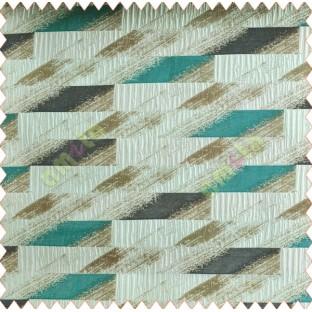 Rectangular brick slate design aqua blue brown white crush technical polyester main curtain designs