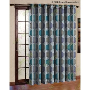Contemporary diamond hexagon aqua blue brown white crush technical polyester main curtain designs