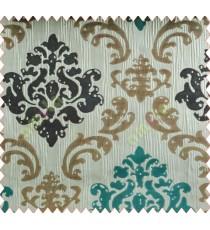 Big damask contemporary aqua blue brown white crush technical polyester main curtain designs