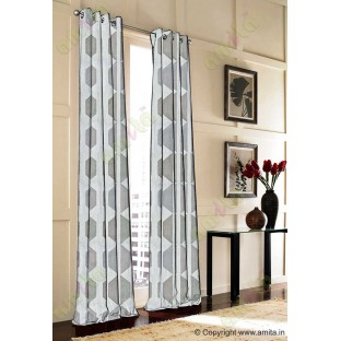 Contemporary diamond hexagon grey silver brown white crush technical polyester main curtain designs