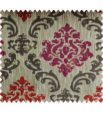 Big damask contemporary maroon pink brown grey crush technical polyester main curtain designs