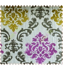 Big damask contemporary purple yellow lime black grey crush technical polyester main curtain designs