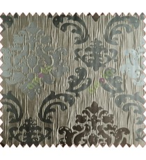 Big damask contemporary brown grey coffee crush technical polyester main curtain designs