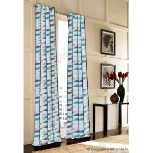 Rectangular brick slate design aqua blue brown white crush technical polyester main curtain designs