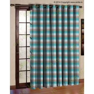 Horizontal stripes gradient aqua blue brown white crush technical polyester main curtain designs