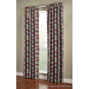 Rectangular brick slate design maroon pink brown grey crush technical polyester main curtain designs