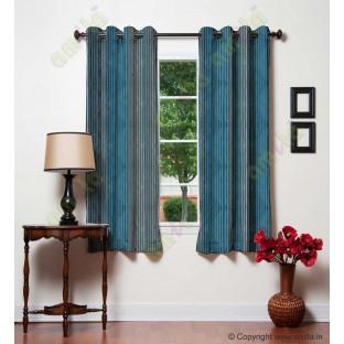 Blue Beige Black Pipe Stripes Main Poly Curtain-Designs
