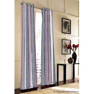 Black Red Silver Grey Pipe Stripes Main Poly Curtain-Designs