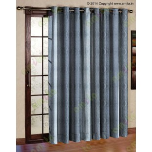 Silver Grey Black Pipe Stripes Main Poly Curtain-Designs