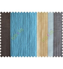Blue Worm Stripes with Black Beige Light Blue Colour Stripes Poly Main Curtain-Designs