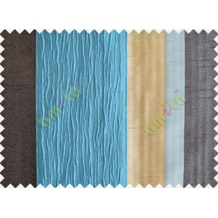 Blue Worm Stripes with Black Beige Light Blue Colour Stripes Poly Main Curtain-Designs
