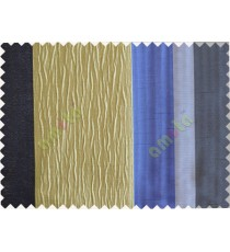 Beige Worm Stripes with Ink Blue Navy Blue  Colour Stripes Poly Main Curtain-Designs