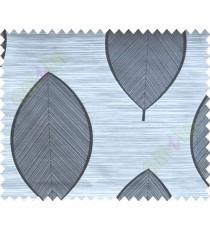 Black and White Banyan Leaf Polycotton Main Curtain-Designs