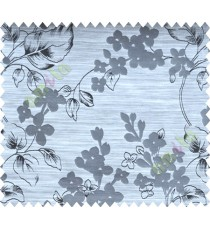 Black and White Flower Plant Polycotton Main Curtain-Designs