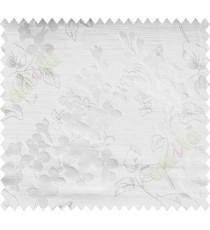Beige White Flower Plant Polycotton Main Curtain-Designs
