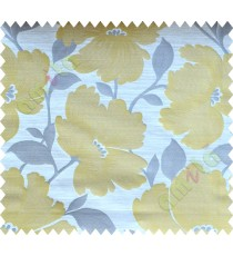 Yellow Grey Natural Flower Polycotton Main Curtain-Designs