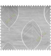 Grey Silver Banyan Leaf Polycotton Main Curtain-Designs