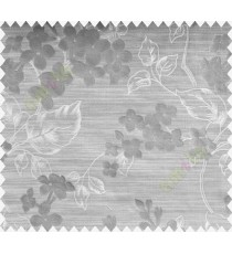 Grey White Flower Plant Polycotton Main Curtain-Designs