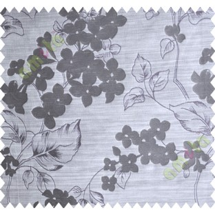 Purple Brown Beige Flower Plant Polycotton Main Curtain-Designs