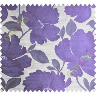 Purple Brown Beige Natural Flower Polycotton Main Curtain-Designs