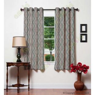 Blue Brown Quilt Diamond Finish Polycotton Main Curtain-Designs