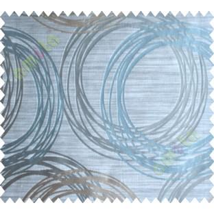Blue Brown Grey Geometric Design Polycotton Main Curtain-Designs