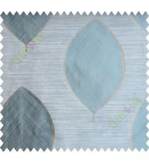 Blue Brown Grey Banyan Leaf Polycotton Main Curtain-Designs