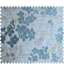 Blue Brown Flower Plant Polycotton Main Curtain-Designs