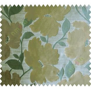 Blue Brown Grey Natural Flower Polycotton Main Curtain-Designs