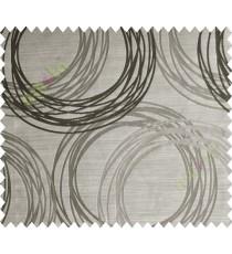 Brown Black Geometric Design Polycotton Main Curtain-Designs