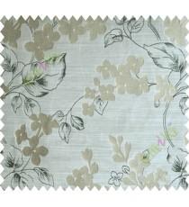 Black Brown Flower Plant Polycotton Main Curtain-Designs