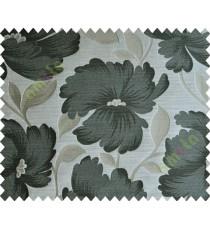 Black Brown Beige Natural Flower Polycotton Main Curtain-Designs