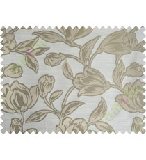 Beige Brown Floral Leaf Buds Polycotton Main Curtain-Designs