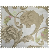 Beige Brown Traditional Floral Design Polycotton Main Curtain-Designs