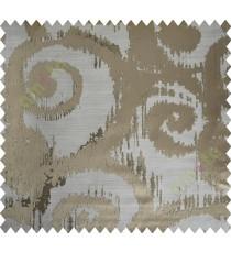 Beige Brown Motif Polycotton Main Curtain-Designs
